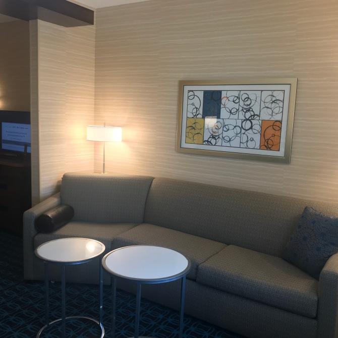 Cozy midcentury-ish couch.