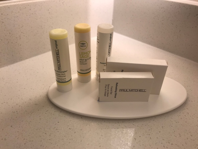 These toiletries smell good, kind of like the W Hotel's Bliss lemon-sage soap.